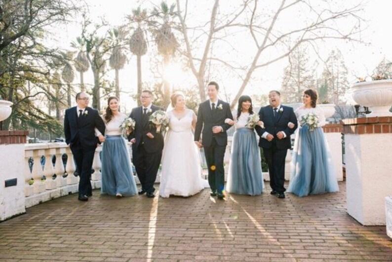 acbde2f527 Long maxi tulle skirt / Dusty Blue tulle skirt floor length skirt / slate  blue Tulle Skirt /Ash blue Skirt / bridesmaid tulle skirt