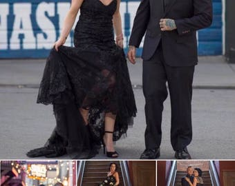 Black lace mermaid dress / black dress / custom made black prom dress / black bridal gown / black gown / ruched black wedding dress