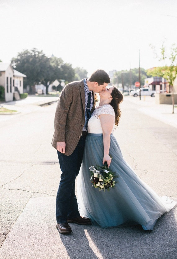 Pleated Dusty Blue Wedding Tulle Skirt Slate Blue Bridal Etsy
