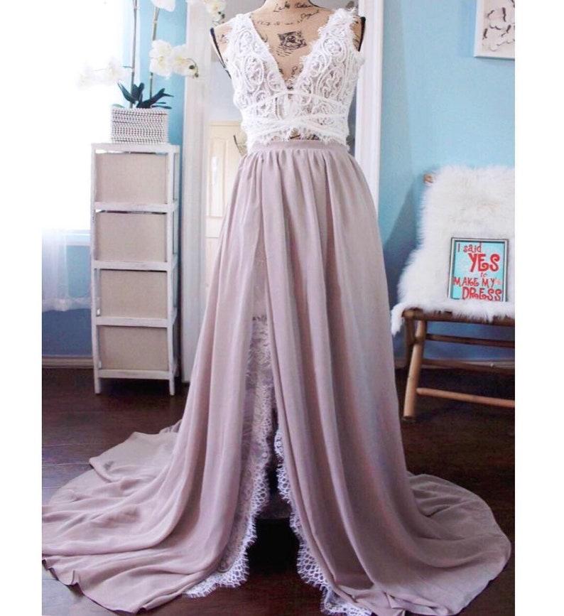8c37f45a54c79 Mustard yellow chiffon side slit lace skirt / pleated chiffon | Etsy