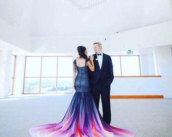 Black mermaid dress / black chiffon dress / custom made black ombre dress / black bridal gown / black gown / black wedding dress