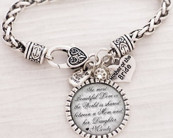Mother of the Bride BRACELET- Gift from Bride Daughter-Wedding Bracelet-Personalized Wedding Bracelet- Mob Gift- Love- Wedding Jewelry-Date