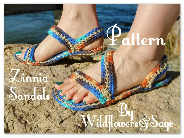 Crochet Sandals Pattern, Zinnia Sandals, teen, women, men, outdoor ...