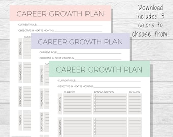 Goal template goal planner printable life goals printable etsy business goals printable goal setting work goals self improvement professional goals personal development career growth plan wajeb Choice Image