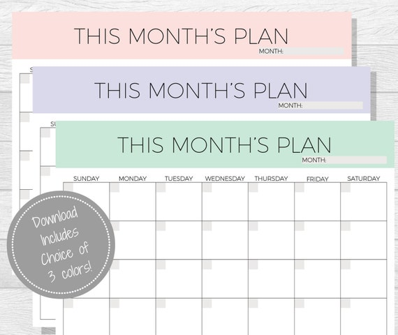 Monthly Planner Printable 2018 Planner Monthly Planner pdf ...