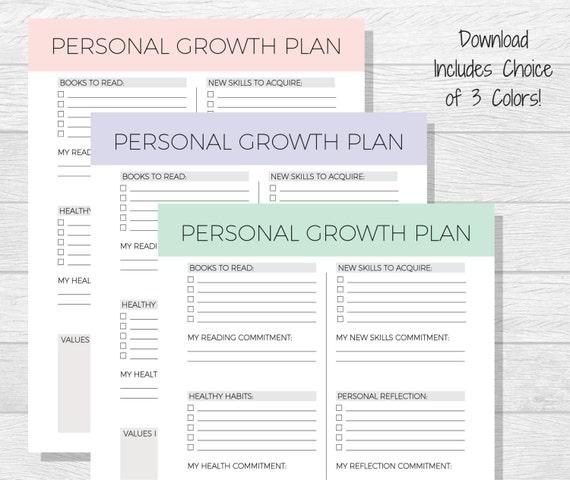 personal growth plan development self improvement worksheet printable goal planner help setting goals worksheets etsy printables budget sold