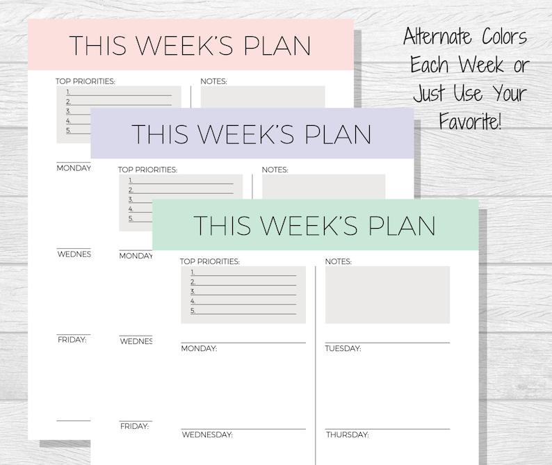weekly planner printable 2018 planner pdf printable | etsy