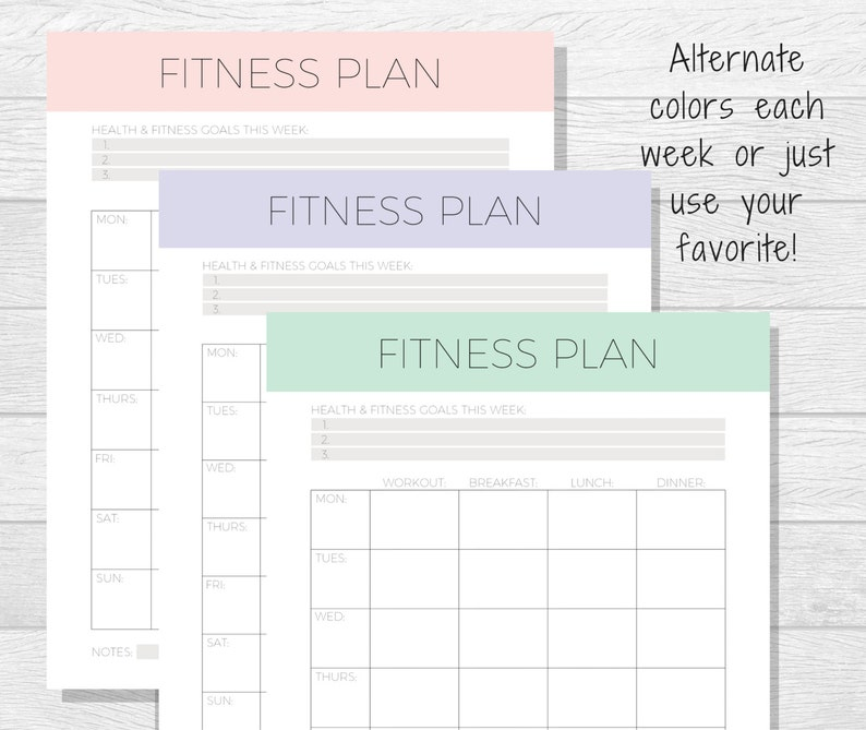 graphic relating to Fitness Planner Printable named Weekly Exercise Planner Printable - Exercise Tracker - Conditioning Planner - Fitness Tracker - Exercise Exercise - Food items and Physical fitness Method