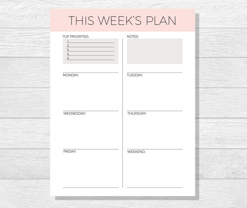 graphic regarding Week Planner Pdf titled Weekly Planner Printable - 2018 Planner pdf - Printable Organizer - In direction of Do Listing - Weekly Timetable - 2018 Weekly Planner - Planner Down load