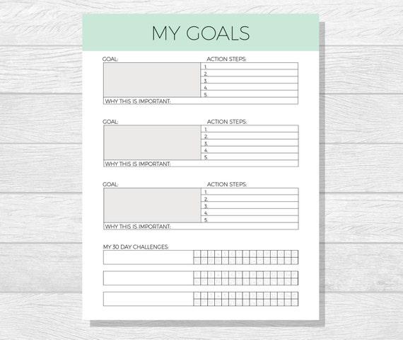 Goal Template Goal Planner Printable Life Goals Printable | Etsy