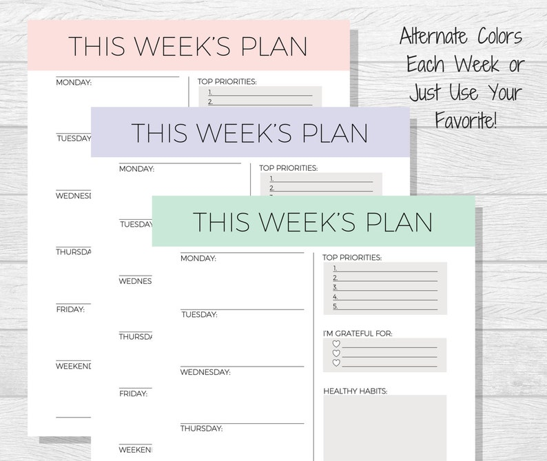 image regarding Week Planner Printable named Weekly Planner Printable - Weekly Timetable - Weekly Organizer - A4 Weekly Planner - Workplace Plan Printable - Do the job Planner - 7 days Style and design