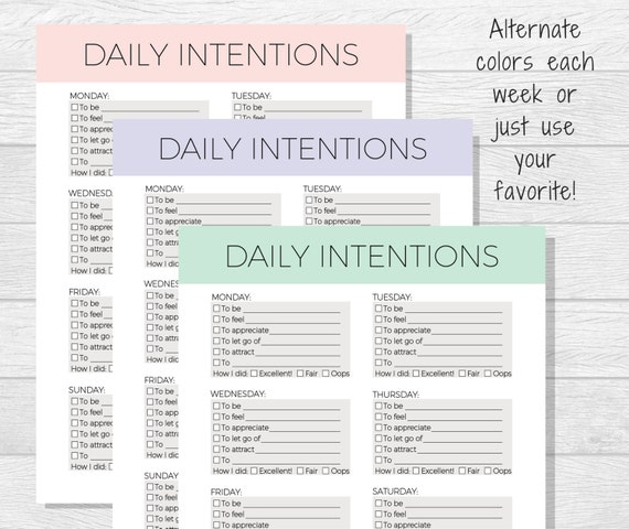 Daily Intentions Printable Daily Affirmations Daily Goal Etsy