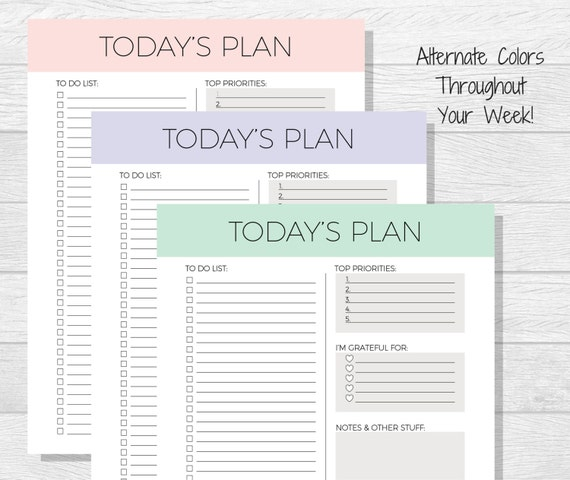 Daily Planner Printable Today S Plan Daily Schedule Etsy