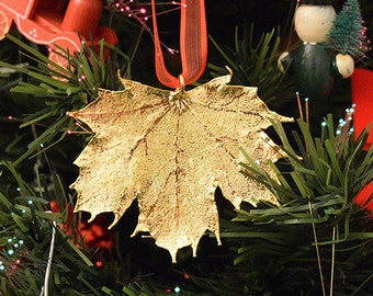 Real Leaf Ornaments 24k Gold Plated Sugar Maple Christmas Gift Natural Dipped Edel Heid