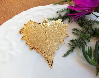 Cottonwood Pendant, Gold Dipped Cottonwood Leaf,  Real Leaf Pendant, Natural Leaf Pendant, Gold Plated Leaf, Gold Leaf Pendant, Edel-Heid