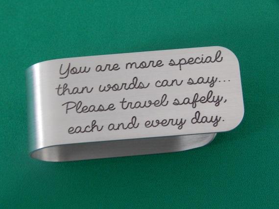 Engraved Aluminum Visor Clip New Driver Safe Travels Visor Etsy