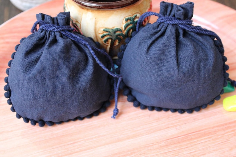 custom party handbag jewelry gift bags 100 custom cotton NAVY BLUE round pompom pouches