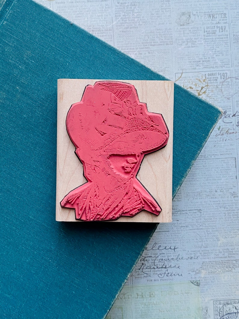 LIKE NEW Vintage Victorian Style Woman In Hat Sketch Rubber /& Wood Stamp