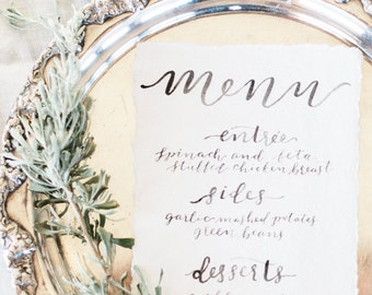 Watercolor Calligraphy Wedding Menu // Modern Calligraphy and Brush Lettering // Handmade and Handwritten //
