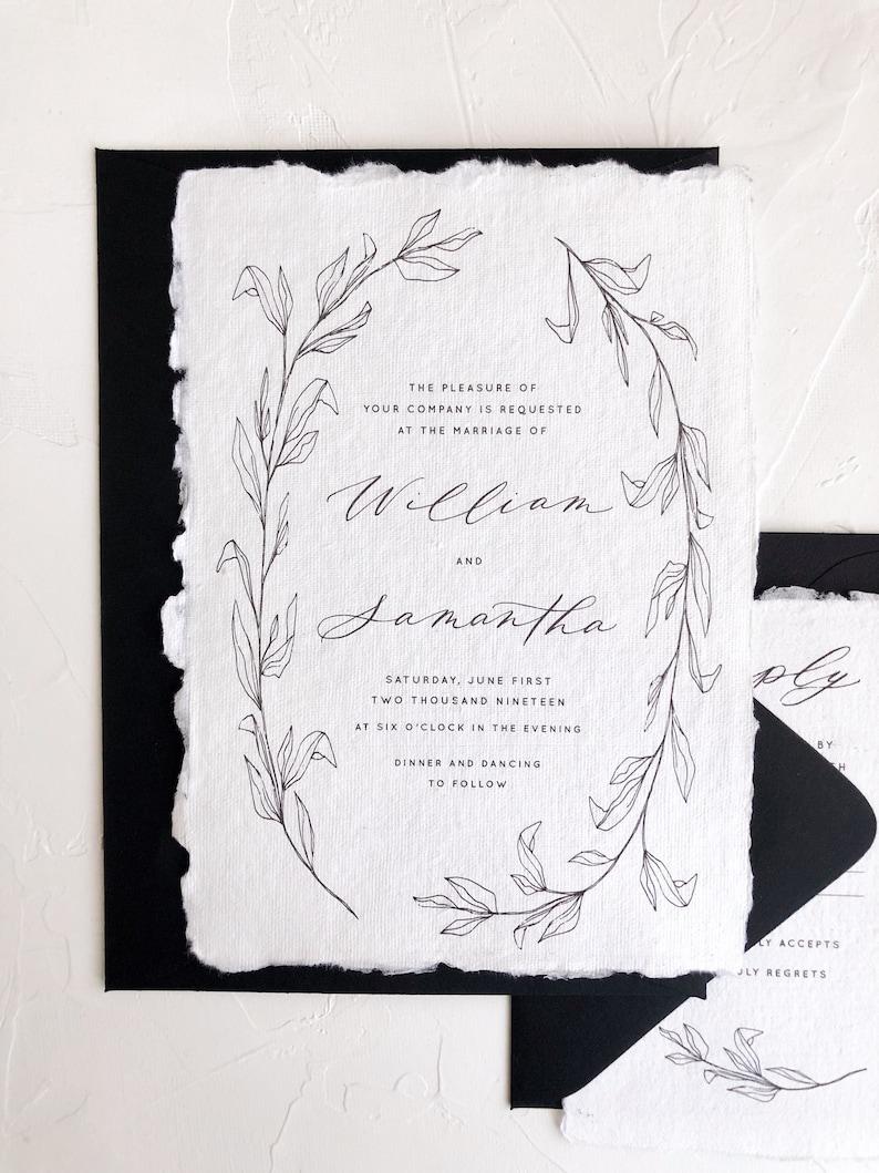Calligraphy Wedding Invitations Fine Art Wedding Etsy