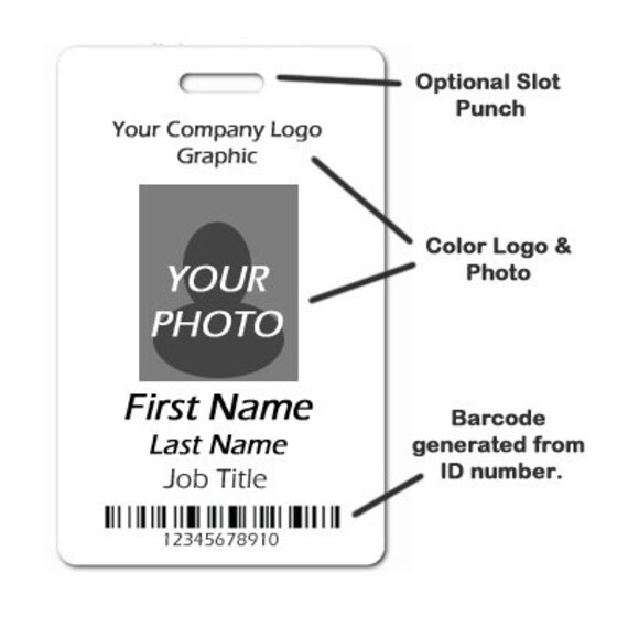 1 single sided full color plastic employee id badge optional etsy