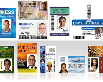 Commercial Custom Plastic Employee Photo ID Badges - Dye Sublimation - Customized PVC Name Tags - Gift Cards - Promo Cards - Cosplay Badges