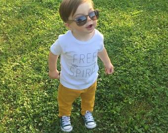 Screen Printed Toddler Shirt - Free Spirit, Toddler Shirt, Shortsleeve Free Spirit Shirt, Screen Printed White Shirt, Free Spirit