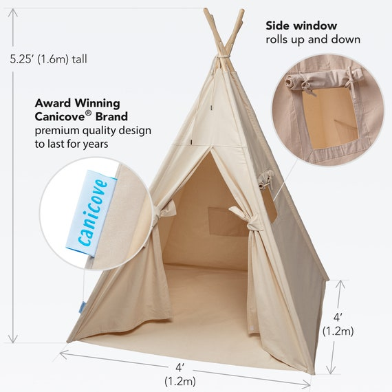 half off baffa c4c04 Teepee Play Tent for Kids by Canicove - Tipi for Boys and Girls - Natural  Cotton