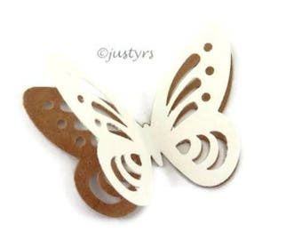 3D Brown & Ivory Butterfly Confetti, Candy Table Decor, Paper Butterflies, Party Decor, Butterfly cake decor, Baby Shower Decor