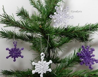 3 Purple Quilled Snowflakes, Christmas Decoration, Christmas tree decoration, Christmas home decor, Christmas wedding favor