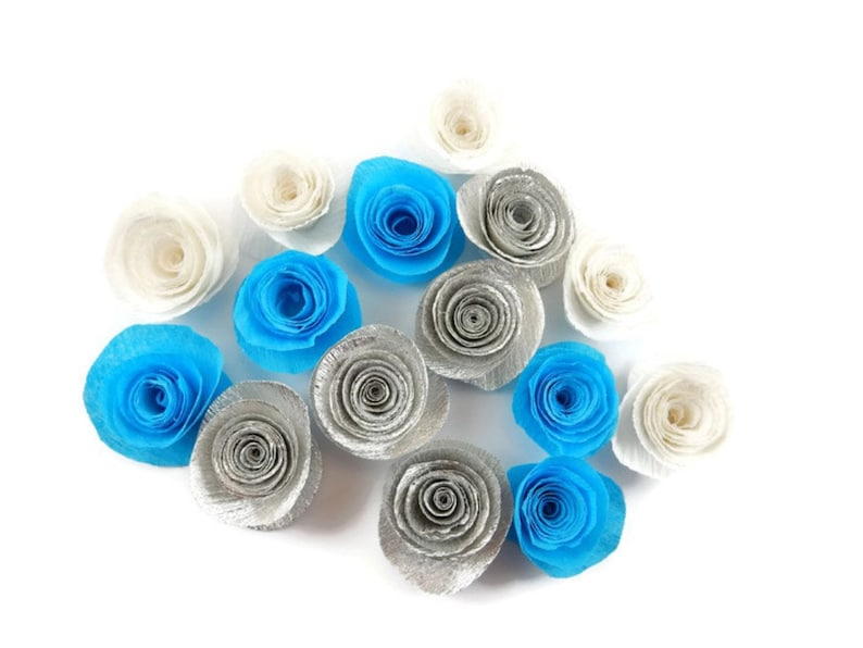 Blue White and silver paper roses 10 Paper Flowers flower confetti