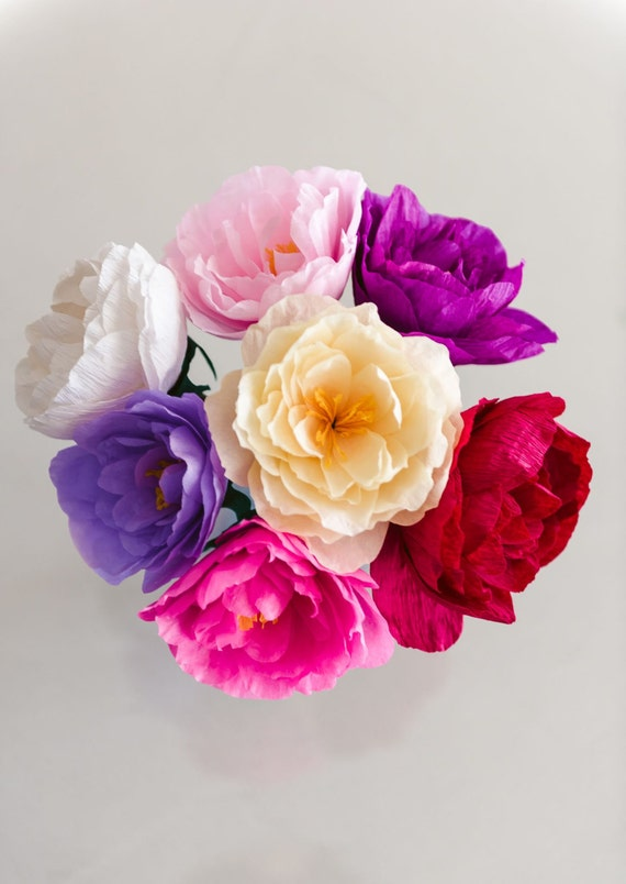 Paper Flower Bouquet Crepe Peonies Wedding Bouquet Bridesmaid Bouquet Throw Bouquet Keepsake Mother S Day Baby Shower Decor Birthday