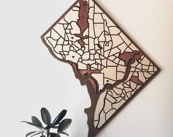 Washington DC Wood Neighborhood Map - Magnetic Pieces, Customizable