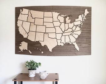 Customizable US Travel Map - Magnetic Wood Pieces for Ongoing Personalization