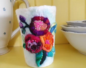 Felt wool vessel,colorful flower vase, tealight holders,unique gift for mom,interior home decor bowl,hygge ornament for table,embroidered