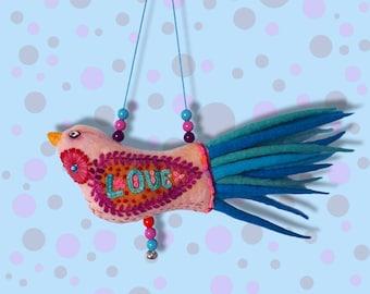 Felt bird pastel,boho living room,luxury gift for mum,folk art ornaments with bright colors,rustic home decor,colorful felt bird for girl