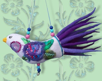 Felt bird  lilac,decoration for home,colorful gift for mum,folk ornaments, bright colors,embroidery flower,bohostyle decor,christmas present