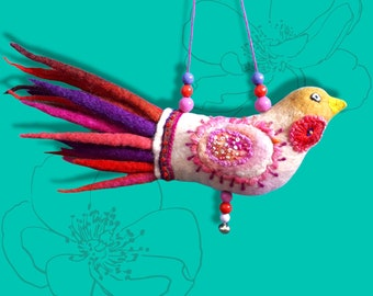 Felt bird pink,folk art embroidery,gift for friends,boho style decor,whimsical folk art,fanciful,perfect handmade gift,embroidered on felt