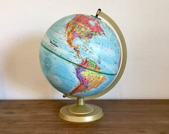 "Vintage Globe; Replogle 12"" World Nation Globe; World Globe; 1990s Globe; Tabletop Globe; Replogle Globe; Vintage Map; Office Decor"