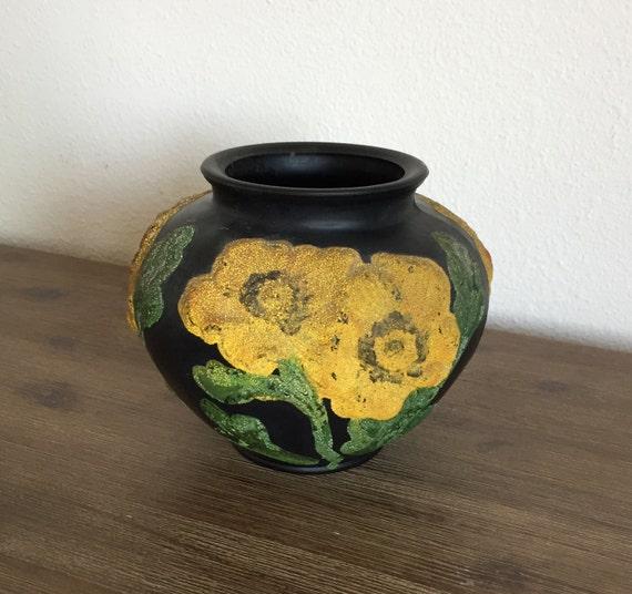 Vintage Tiffin Black Satin Amethyst Glass Poppy Vase With Etsy