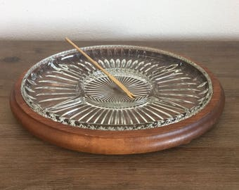 Mid Century Wood and Glass Appetizer Tray; Oval Platter; Vintage Snack Tray; Mid Century Dining; Hors D'oeuvres Tray