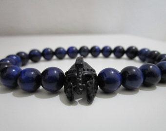 Blue Tiger eye, Spartan bracelet, Blue tiger eye bracelet, gift for men, Pulsera Gladiator, Natural stone bracelet, Mens stone jewelry, Gift