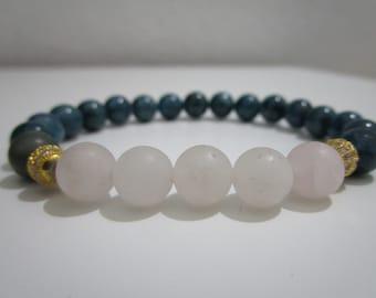 Apatite bracelet, Rose quartz bracelet, Yoga bracelet, Tibetan jewelry, Womens bracelet, Gift for women, Bracelet, Meditation bracelet, Gift