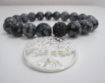 Obsidian,Snowflake obsidian bracelet,Tree for life,Woman gemstone bracelet,Gift,Gift for woman,Snowflake obsidian gemstone bracelet