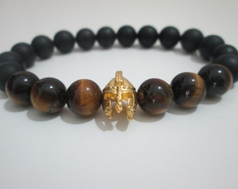 Bracelet Onyx man sawing and Tiger eye, gold plated Spartan, Gladiator helmet