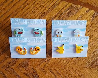 Pokemon Inspired Bulbasaur, Charmander, Squirtle, Pikachu Earrings Gift Set