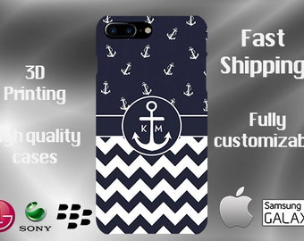 Anchor Monogram Cell Phone Case, iPhone 7 case, Note 5 case, Nautical cell, iPhone 6 plus cell phone case, iPhone 6 plus case, S6 #223