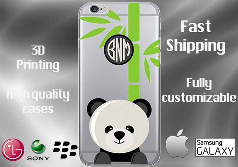 new products 46e85 213bc Panda Bear Cell Phone Case, Panda Cell Case, Animal Cell Case, Panda iPhone  7 case, Panda iPhone 7 plus, Cubs Clear iPhone Case, Monogram