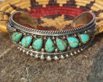 Handwrought Old Navajo Silver Foliate Motif Cuff Bracelet with Kingman Turquoise