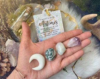 ARTEMIS—Select Crystals to Invoke Artemis Greek Goddess of the Hunt & Moon—Crescent Moon, Tree Agate, Moonstone, Amethyst